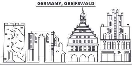 Germany, Greifswald line skyline vector illustration. Germany, Greifswald linear cityscape with famous landmarks, city sights, vector design landscape.