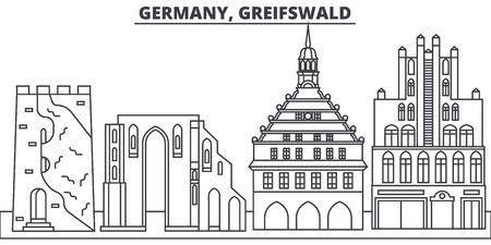 Germany, Greifswald line skyline vector illustration. Germany, Greifswald linear cityscape with famous landmarks, city sights, vector design landscape.