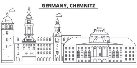 Germany, Chemnitz line skyline vector illustration. Germany, Chemnitz linear cityscape with famous landmarks, city sights, vector design landscape.