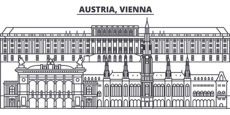 Austria, Vienna line skyline vector illustration. Austria, Vienna linear cityscape with famous landmarks, city sights, vector design landscape. 向量圖像