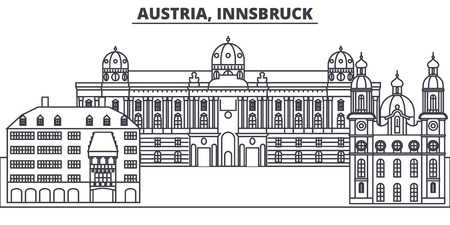 Austria,Innsburck line skyline vector illustration. Austria,Innsburck linear cityscape with famous landmarks, city sights, vector design landscape.