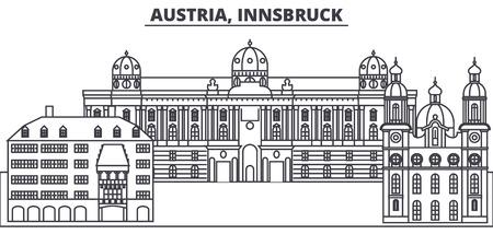 Austria,Innsburck line skyline vector illustration. Austria,Innsburck linear cityscape with famous landmarks, city sights, vector design landscape.