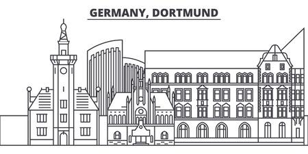Duitsland, Dortmund lijn skyline vectorillustratie. Duitsland, Dortmund lineaire stadsgezicht met beroemde bezienswaardigheden, stadsgezichten, vector design landschap.