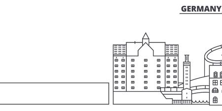 Germany, Duisburg line skyline vector illustration. Germany, Duisburg linear cityscape with famous landmarks, city sights, vector design landscape. Illustration
