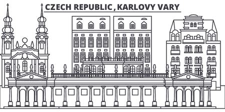 Czech Republic, Karlovy Vary line skyline vector illustration. czech Republic, Karlovy Vary linear cityscape with famous landmarks, city sights, vector landscape.