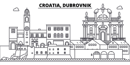 Croatia, Dubrovnik line skyline vector illustration. Croatia, Dubrovnik linear cityscape with famous landmarks, city sights, vector design landscape. Imagens - 102010089