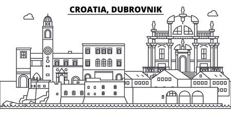 Croatia, Dubrovnik line skyline vector illustration. Croatia, Dubrovnik linear cityscape with famous landmarks, city sights, vector design landscape.