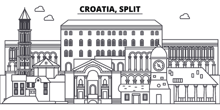 Croatia, Split line skyline vector illustration. Croatia, Split linear cityscape with famous landmarks, city sights, vector design landscape.