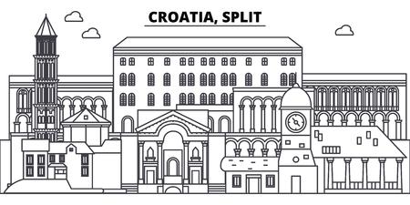 Kroatien, geteilte Linie Skyline Vektor-Illustration. Kroatien, geteiltes lineares Stadtbild mit berühmten Wahrzeichen, Stadtsehenswürdigkeiten, Vektorentwurfslandschaft.