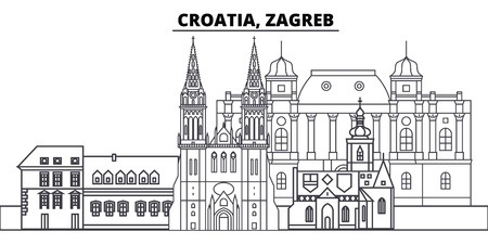 Croatia, Zagreb line skyline vector illustration. Croatia, Zagreb linear cityscape with famous landmarks, city sights, vector design landscape.