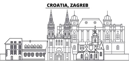 Croatia, Zagreb line skyline vector illustration. Croatia, Zagreb linear cityscape with famous landmarks, city sights, vector design landscape.