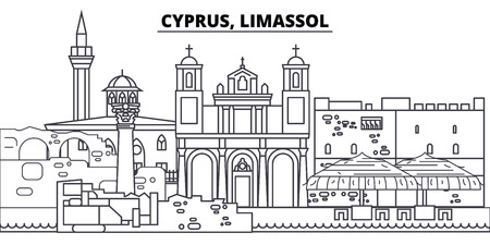 Cyprus, Limassol line skyline vector illustration. Cyprus, Limassol linear cityscape with famous landmarks, city sights, vector design landscape. Ilustrace