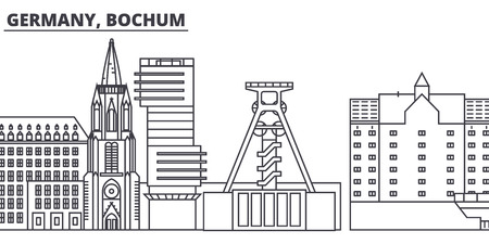 Germany, Bochum line skyline vector illustration. Germany, Bochum linear cityscape with famous landmarks, city sights, vector design landscape.