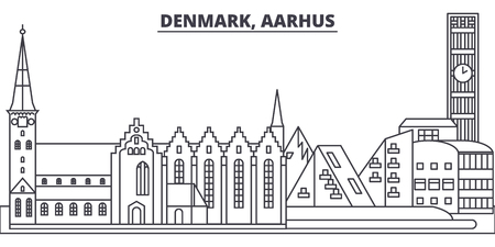 Denmark, Aarhus line skyline vector illustration. Denmark, Aarhus linear cityscape with famous landmarks, city sights, vector design landscape.