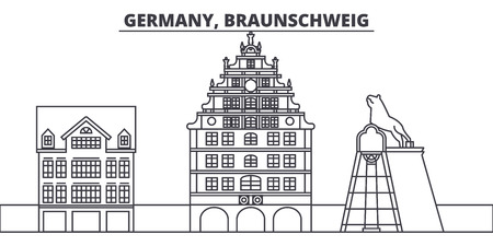 Germany, Braunschweig line skyline vector illustration. Germany, Braunschweig linear cityscape with famous landmarks, city sights, vector design landscape. Ilustração