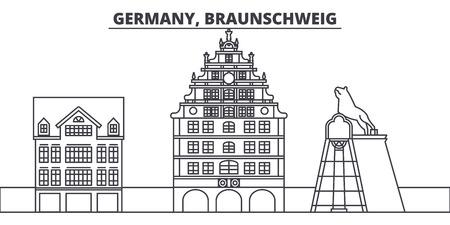 Germany, Braunschweig line skyline vector illustration. Germany, Braunschweig linear cityscape with famous landmarks, city sights, vector design landscape. 일러스트