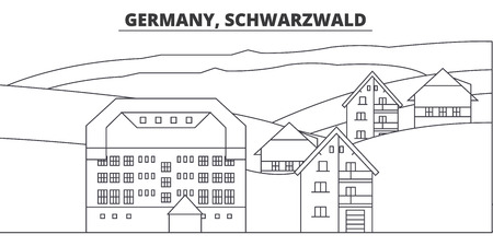Germany, Schwarzwald line skyline vector illustration. Germany, Schwarzwald linear cityscape with famous landmarks, city sights, vector design landscape.