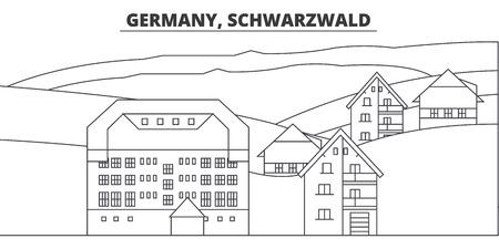 Germany, Schwarzwald line skyline vector illustration. Germany, Schwarzwald linear cityscape with famous landmarks, city sights, vector design landscape.