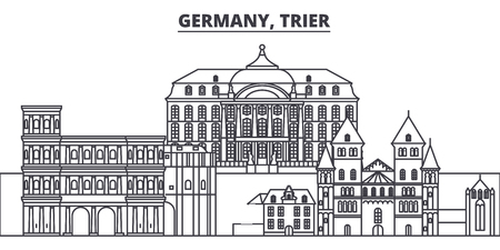 Germany, Trier line skyline vector illustration. Germany, Trier linear cityscape with famous landmarks, city sights, vector design landscape.