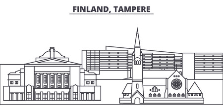 Finland, Tampere line skyline vector illustration. Finland, Tampere linear cityscape with famous landmarks, city sights, vector design landscape. Stock Vector - 101996258