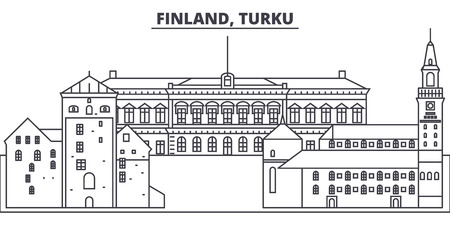 Finland, Turku line skyline vector illustration. Finland, Turku linear cityscape with famous landmarks, city sights, vector design landscape. Ilustração