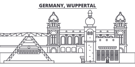Germany, Wuppertal line skyline vector illustration. Germany, Wuppertal linear cityscape with famous landmarks, city sights, vector design landscape.