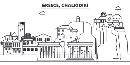 Greece, Chalkidiki line skyline vector illustration. Greece, Chalkidiki linear cityscape with famous landmarks, city sights, vector design landscape.
