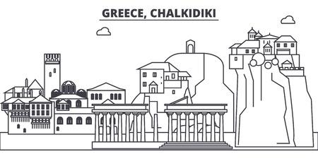 Greece, Chalkidiki line skyline vector illustration. Greece, Chalkidiki linear cityscape with famous landmarks, city sights, vector design landscape.