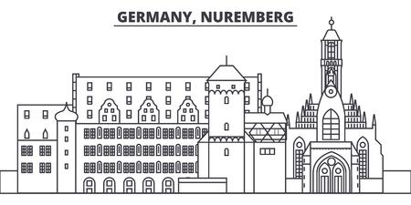 Germany, Nuremberg line skyline vector illustration. Germany, Nuremberg linear cityscape with famous landmarks, city sights, vector design landscape.