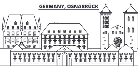 Germany, Osnabruck line skyline vector illustration. Germany, Osnabruck linear cityscape with famous landmarks, city sights, vector design landscape. Stock Vector - 101976237