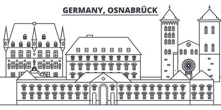 Germany, Osnabruck line skyline vector illustration. Germany, Osnabruck linear cityscape with famous landmarks, city sights, vector design landscape. Illustration