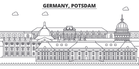 Germany, Postdam line skyline vector illustration. Germany, Postdam linear cityscape with famous landmarks, city sights, vector design landscape.  イラスト・ベクター素材
