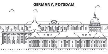 Germany, Postdam line skyline vector illustration. Germany, Postdam linear cityscape with famous landmarks, city sights, vector design landscape. Illustration