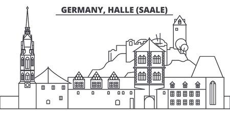 Germany, Halle Saale line skyline vector illustration. Germany, Halle Saale linear cityscape with famous landmarks, city sights, vector design landscape. Illustration