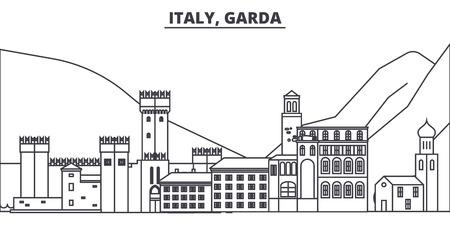 Italy, Garda line skyline vector illustration. Italy, Garda linear cityscape with famous landmarks, city sights, vector design landscape.