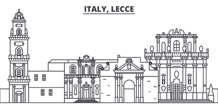 Italy, Lecce line skyline vector illustration. Italy, Lecce linear cityscape with famous landmarks, city sights, vector design landscape.