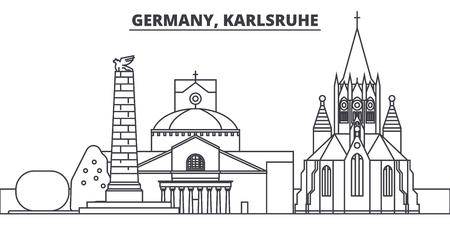 Germany, Karlsruhe line skyline vector illustration. Germany, Karlsruhe linear cityscape with famous landmarks, city sights, vector design landscape.