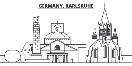 Germany, Karlsruhe line skyline vector illustration. Germany, Karlsruhe linear cityscape with famous landmarks, city sights, vector design landscape.