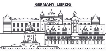 Germany, Leipzig line skyline vector illustration. Germany, Leipzig linear cityscape with famous landmarks, city sights, vector design landscape. Standard-Bild - 101976240