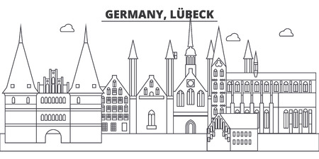 Germany, Lubeck line skyline vector illustration. Germany, Lubeck linear cityscape with famous landmarks, city sights, vector design landscape.