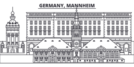 Germany, Mannheim line skyline vector illustration. Germany, Mannheim linear cityscape with famous landmarks, city sights, vector design landscape.