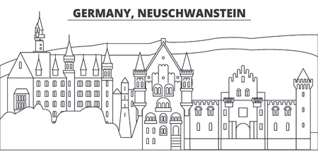 Germany, Neuschwanstein line skyline vector illustration. Germany, Neuschwanstein linear cityscape with famous landmarks, city sights, vector design landscape. Çizim