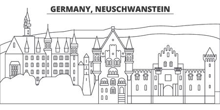Germany, Neuschwanstein line skyline vector illustration. Germany, Neuschwanstein linear cityscape with famous landmarks, city sights, vector design landscape. Illustration