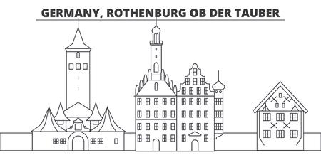 Germany, Rothenburg Ob Der Tauber line skyline vector illustration. Germany, Rothenburg Ob Der Tauber linear cityscape with famous landmarks, city sights, vector design landscape.