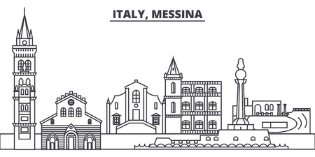 Italy, Messina line skyline vector illustration. Italy, Messina linear cityscape with famous landmarks, city sights, vector design landscape. Illustration
