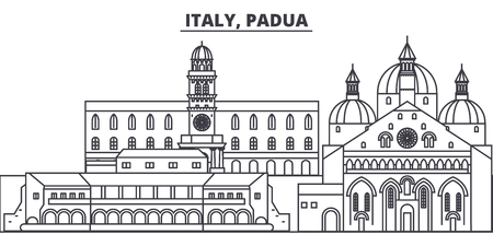 Italy, Padua line skyline vector illustration. Italy, Padua linear cityscape with famous landmarks, city sights, vector design landscape.