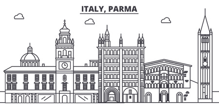Italy, Parma line skyline vector illustration. Italy, Parma linear cityscape with famous landmarks, city sights, vector design landscape. Imagens - 101996263