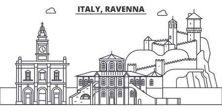 Italy, Ravenna line skyline vector illustration. Italy, Ravenna linear cityscape with famous landmarks, city sights, vector design landscape.