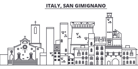 Italy, San Gimignano line skyline vector illustration. Italy, San Gimignano linear cityscape with famous landmarks, city sights, vector design landscape.