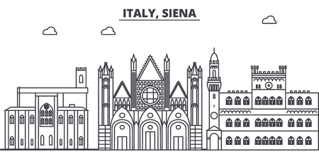 Italy, Siena line skyline vector illustration. Italy, Siena linear cityscape with famous landmarks, city sights, vector design landscape.  イラスト・ベクター素材